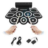 TSAI portátil electrónica Roll Up Drum Pad Set 9 almohadillas de silicona altavoces integrados con baquetas pedales de pie USB 3,5mm Cable de Audio