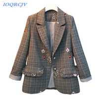 Chaquetas Casual para mujer 2018 nueva primavera otoño Plus tamaño 5XL moda chaqueta bordado tops traje de chaqueta a cuadros Slim hembra N232