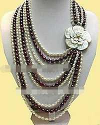 Envío gratis>> @ 1452 Shell Broche Multicolor Arroz FW Perla de 9 Filas Collar