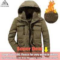 PEILOW chaqueta de invierno los hombres Plus tamaño 5XL 6XL 7XL 8XL espesar cálido algodón acolchado de piel de chaquetas rompevientos con capucha de los hombres es Parka abrigo
