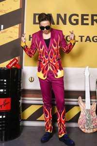 ¡S-XL! ¡Caliente! Otoño nuevos hombres cantante DJ llama roja nightclub invitados barra marea hombres blazers trajes chaqueta vestido formal