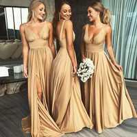 Vestido de dama de honor de línea A con escote en V profundo Sexy 2019 sin mangas sin espalda plisado elástico satén vestidos de dama de honor largos vestidos de fiesta formales