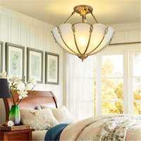 Lámpara de techo de cobre europeo americano simple living luces media lámpara restaurante luces atmósfera cobre LU623 ZL142