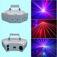 DJ Luz de escenario mini RGB luz láser en forma de abanico seis ojos iluminación de escaneo con haz láser DMX Luz de discoteca para dj club