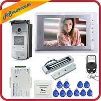 Sistema de entrada de teléfono de puerta de vídeo Hom con cable de 7 pulgadas 1 Monitor + 1 cámara de acceso RFID + magnético eléctrico cerradura envío gratis
