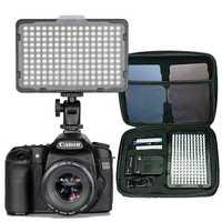 176 unids de luz LED para cámara DSLR videocámara luz continua, batería y cargador USB, funda de transporte para estudio de fotografía de vídeo
