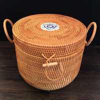 Caja organizadora de almacenamiento de joyería de ratán caja de almacenamiento de lata de té caja de almacenamiento de alimentos