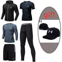 2019 traje deportivo de entrenamiento para hombre, conjunto para correr al aire libre, ropa de Fitness para gimnasio, ropa de secado rápido, 5 piezas, negro