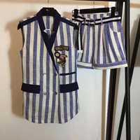 Trajes femeninos de verano a la moda conjunto de dos piezas casual top y pantalones cortos conjunto increíble a rayas traje chaleco mini conjuntos mujer