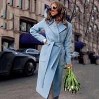 De moda de invierno nueva solapa manga larga con Color sólido de largo damas abrigo Casual de la mujer ropa