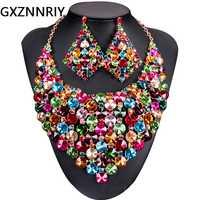 Africana de cristal de boda joyería nupcial conjuntos para las mujeres accesorios Dubi collar de oro y pendientes conjuntos de joyas de la India regalos