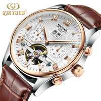 KINYUED mecánica Tourbillon hombres reloj de pulsera casuales de cuero de los hombres de negocios esqueleto reloj automático erkek kol saat montre homme