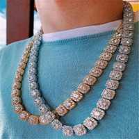 10MM Bling Iced Out Tennis Chain cuadrado entramado AAA CZ piedra oro plata Cubic Zircon Chokers collares para hombres Hip Hop joyería