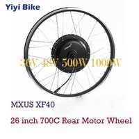 MXUS Bicicleta eléctrica DC Motor 36 V 48 V Motor de cubo sin escobillas 500 W 1000 W para 26 pulgadas 700C Bicicleta eléctrica rueda trasera Kit de Motor