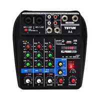 A4 Console de mixage sonore Bluetooth USB enregistrement ordinateur lecture 48V fantôme délai d'alimentation Repaeat effet 4 canaux USB mélangeur Audio