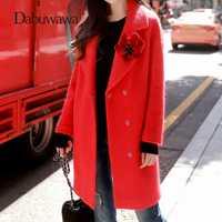 Dabuwawa de invierno de mujer rojo abrigo de giro-abajo Collar de apliques florales abrigos de lana botón Inicio abrigo de Año Nuevo d17DLN043