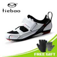 TIEBAO de las mujeres de los hombres zapatos de Ciclismo de triatlón Zapatillas de Ciclismo de fibra de vidrio-suela exterior de Nylon de bicicleta de carretera de LOOK-KEO cala Compatible