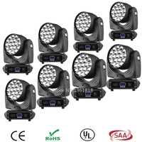 (8 unids/lote) LED de lavado zoom cabeza móvil luz 19x12 W AC90-240V 50-60Hz + DMX 512 controlador para DJ Club etapa cabeza móvil equipo