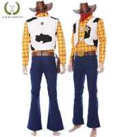 Halloween juguete película para hombres Woody papel juego traje de vaquero Woody trajes con scarve y sombrero lleno de