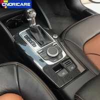 Fibre de carbone Style voiture Console centrale changement de vitesse panneau décoration couvercle garniture pour Audi A3 8 V 2014-18 LHD ABS intérieur décalcomanies