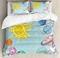 Espacio Duvet Cover Set de dibujos animados lindo sol planetas Sistema Solar divertido Celestial gráfico de los niños del Bebé Ropa de cama de Reina/completa multi