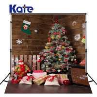 KATE fotografía de fondo de Navidad familia Backdrops árbol de Navidad fondos de madera para el estudio de la foto del recién nacido
