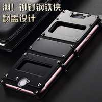 Nueva funda abatible de metal de acero inoxidable Iron Man para iphone 7 plus 5.5