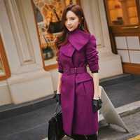 Dabuwawa púrpura de las mujeres de invierno lana elegante abrigos 2018 nuevo cálido grueso Collar bufanda cinturón de chica grande abrigo prendas