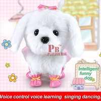 Niños juguete eléctrico puede hablar y danza, felpa perro robot inteligente simulación, peluche perro voz operación comando