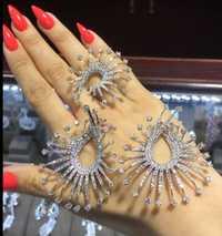 GODKI 59mm lujo fuegos artificiales estrella luces Full Micro Cubic Zirconia mujer nupcial boda anillo de compromiso conjunto de joyería