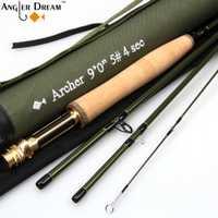 3/4/5/8WT varilla de mosca grafito IM 10/T 36 t fibra de carbono verde oscuro caña de pescar con tubo de Cordura varilla calcetín