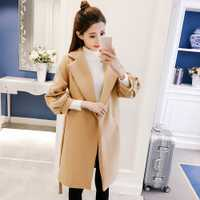 2018 nueva moda bordado suelto abrigo de lana de invierno de las mujeres manga linterna Correa larga femenina ropa de abrigo