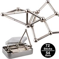Imanes de Metal cubo mágico bloques de construcción juguetes educativos para niños novedosos palos magnéticos Bucky juego de bolas de acero J75