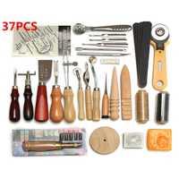 Adeeing 37 unids/set arte de DIY de cuero herramientas Punch Kit costura hecha a mano Kit Set para casa niños suministros