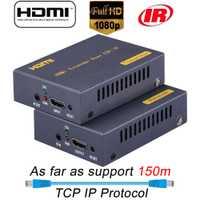 2019 HSV373 IP HDMI extensor 150 m sobre UTP/STP CAT5e Cat6 HDMI a RJ45 extensor 1080 P HDMI extensor IR por LAN como divisor HDMI