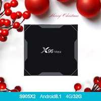 X96 MAX Android 8,1 tv caja Amlogic S905X2 LPDDR4 Quad Core 4 GB 64 GB 2,4G y 5 GHz wifi BT 1000 M H.265 4 K pk con w1 x96max tvbox