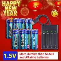 8 piezas 1,5 v 3000mWh sin efecto memoria aa batería recargable de Li-polímero Li-Ion de la batería de polímero de litio + 4 ranuras cargador USB
