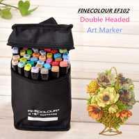 Finecolour EF102 Double Tête Souple Brosse Encre à Base D'alcool Marqueur Professionnel Croquis Peinture Art Marqueurs Stylo