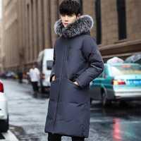 2018 algodón grueso algodón caliente invierno para hombre Parka con piel con capucha hombres invierno chaquetas abrigos hombres de moda Outwear ropa negro