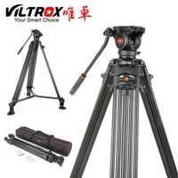 Viltrox VX-18M 1,8 M profesional de servicio pesado de aluminio estable antideslizante trípode de vídeo + fluido Pan CABEZA + llevar bolsa para cámara DV