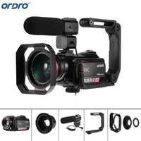 Ordro AC5 4 K UHD cámaras de vídeo digitales videocámaras Zoom 12X FHD 24MP WiFi IPS pantalla táctil Digtal óptico DV mini videocámaras