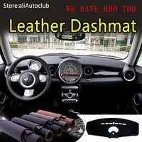 Pour Mini hayon R55 R56 2006 2007 2008 2009 2010 2011 2012 2013 cuir Dashmat tableau de bord couverture Dash tapis style personnalisé