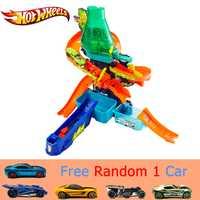 Hot Wheels Color Splash laboratorio de ciencias coche pista Color cambiadores con diferentes Color Sport Car niños divertidos juguete pista CCP76 regalo