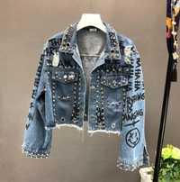 2018 nueva moda de diamante Graffiti impreso diseño corto Denim chaqueta abrigo mujeres de cintura alta de vaquero abrigos estudiante Streetwear