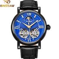 BINSSAW Double Tourbillon automatique mécanique hommes montre en acier de mode de luxe marque en cuir montres d'affaires Relogio Masculino