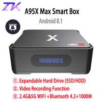 A95X MAX X2 Android 8,1 caja de TV 4G 64G Amlogic S905X2 2,4G y 5G Wifi BT 4,2 de 1000 M Smart TV Box soporte de grabación de vídeo Set Top Box