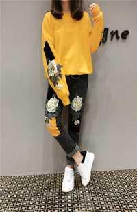 Moda Primavera otoño unidades 2 piezas conjuntos pantalones vaqueros de mujer traje Casual bordado flores Tops y pantalones vaqueros talla grande pantalones femeninos traje