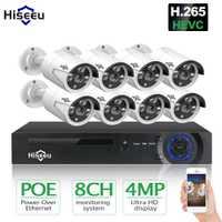 Hiseeu H.265 8CH 4MP POE Kit de système de caméra de sécurité enregistrement Audio caméra IP IR extérieure étanche CCTV vidéo Surveillance ensemble NVR