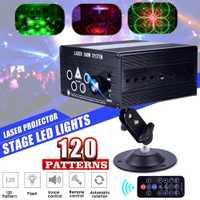 120 patrón de láser RGB LED de la etapa de luz de iluminación de Iluminación DJ de luz profesional 5 Fuentes de Control remoto