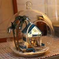 Mini diy bola de cristal casa modelo de construcción kits dulce sueño estilo montaje modelo hecho a mano regalo de cumpleaños